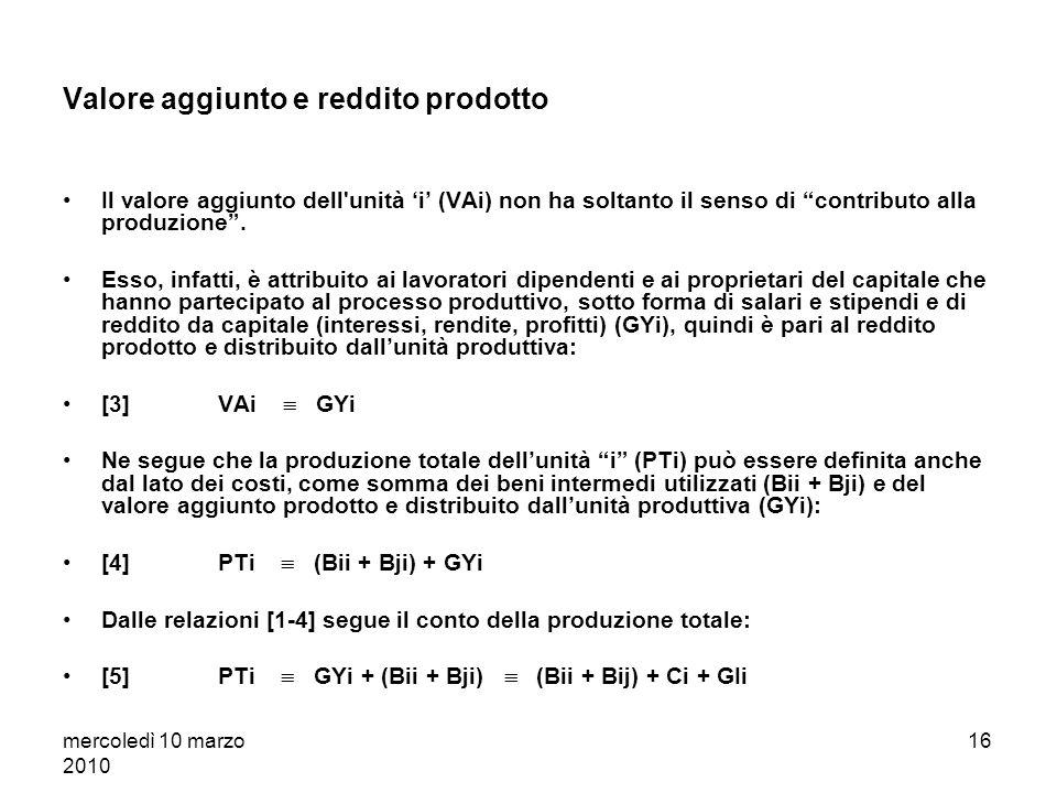 mercoledì 10 marzo 2010 15 Il computo del valore aggiunto: unesemplificazione Produzione totale del panettiere (PTi) (es. vendita alle famiglie (Ci) e