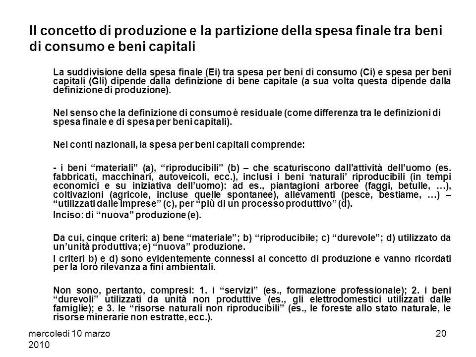 mercoledì 10 marzo 2010 19 Estensione conto della produzione allintero sistema economico Il conto della produzione della singola unità i - relazione [