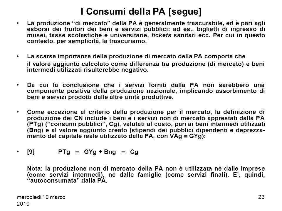 mercoledì 10 marzo 2010 22 I Consumi della PA: questi sconosciuti? I settori produttivi sono costituiti da: 1. le imprese, e 2. le amministrazioni pub