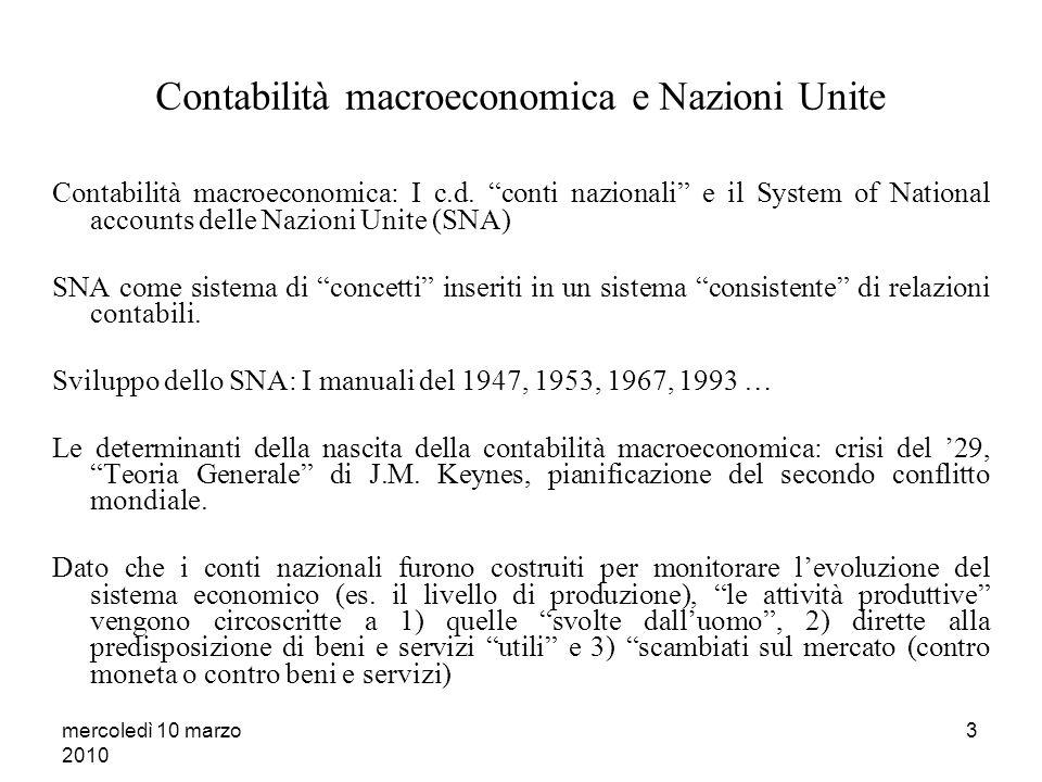 mercoledì 10 marzo 2010 3 Contabilità macroeconomica e Nazioni Unite Contabilità macroeconomica: I c.d.