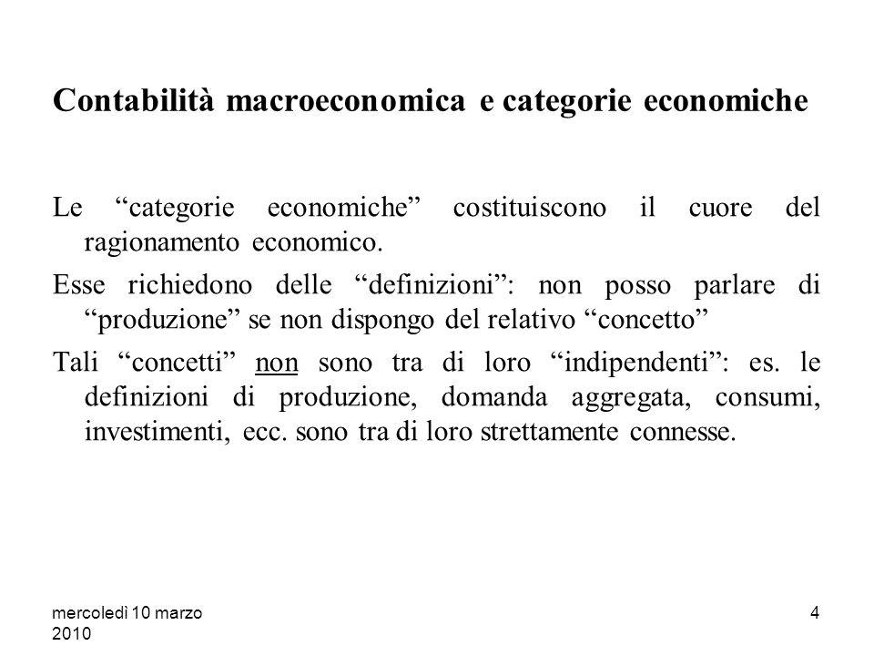 mercoledì 10 marzo 2010 4 Contabilità macroeconomica e categorie economiche Le categorie economiche costituiscono il cuore del ragionamento economico.