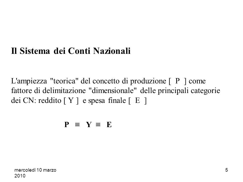 mercoledì 10 marzo 2010 25 Il sistema dei CN (segue) La produzione costituisce il legame concettuale con il successivo conto del reddito.
