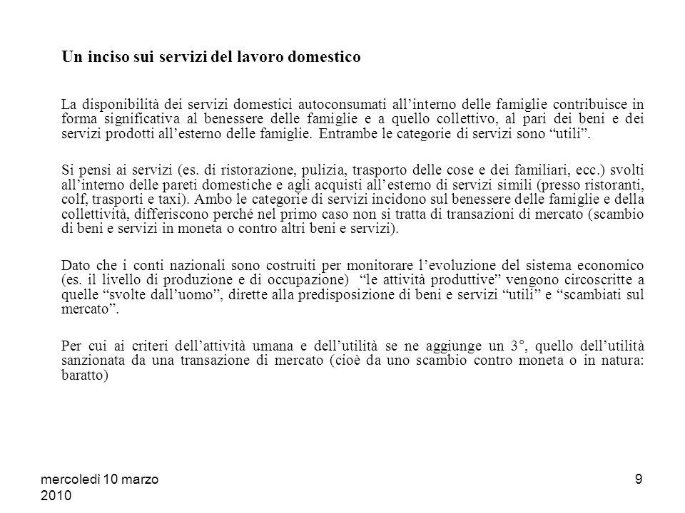 mercoledì 10 marzo 2010 8 IL CONCETTO DI PRODUZIONE: UNA DEFINIZIONE ESAUSTIVA O LESITO DI CONVENZIONI DEFINITORIE.