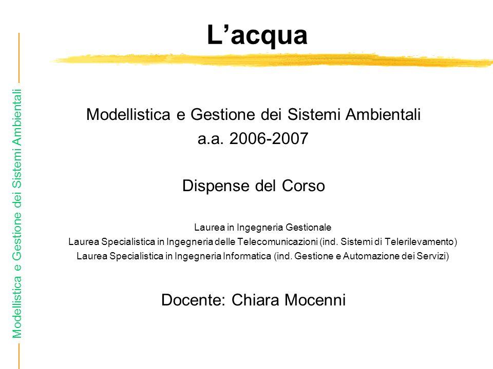 Modellistica e Gestione dei Sistemi Ambientali Lacqua Modellistica e Gestione dei Sistemi Ambientali a.a.