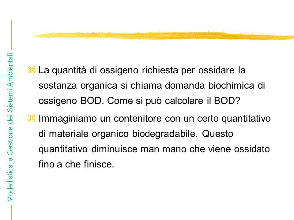 Modellistica e Gestione dei Sistemi Ambientali La quantità di ossigeno richiesta per ossidare la sostanza organica si chiama domanda biochimica di ossigeno BOD.