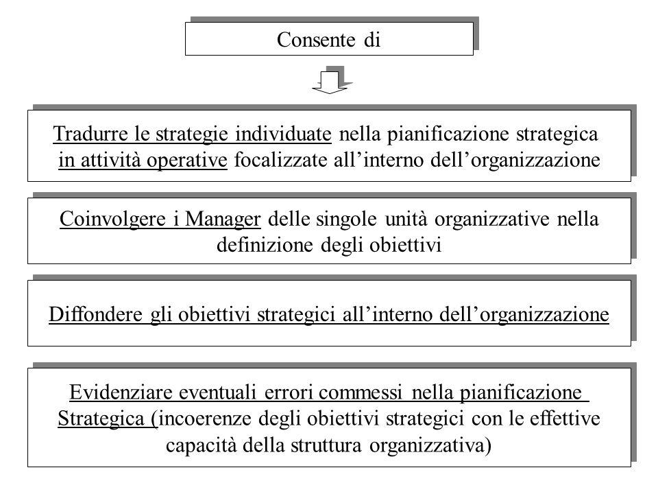 13 Consente di Tradurre le strategie individuate nella pianificazione strategica in attività operative focalizzate allinterno dellorganizzazione Tradu