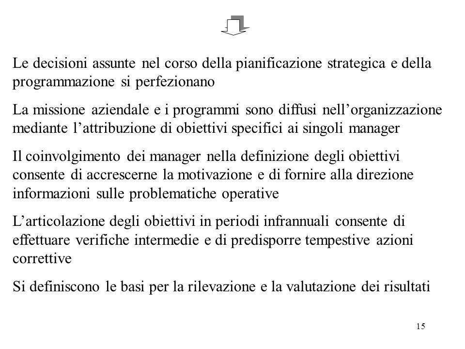 15 Le decisioni assunte nel corso della pianificazione strategica e della programmazione si perfezionano La missione aziendale e i programmi sono diff