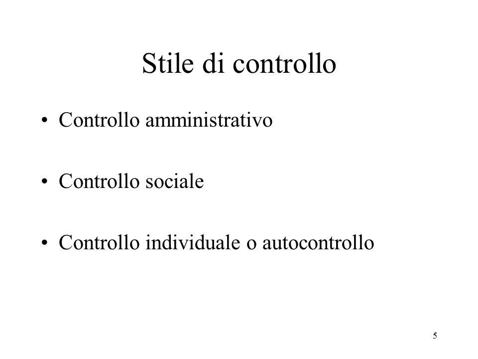 5 Stile di controllo Controllo amministrativo Controllo sociale Controllo individuale o autocontrollo