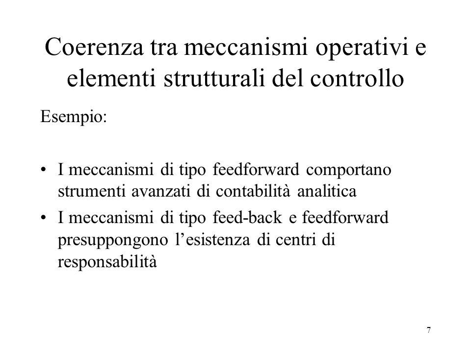 7 Coerenza tra meccanismi operativi e elementi strutturali del controllo Esempio: I meccanismi di tipo feedforward comportano strumenti avanzati di co