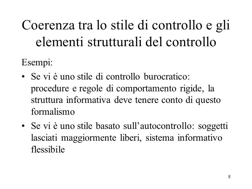 8 Coerenza tra lo stile di controllo e gli elementi strutturali del controllo Esempi: Se vi è uno stile di controllo burocratico: procedure e regole d