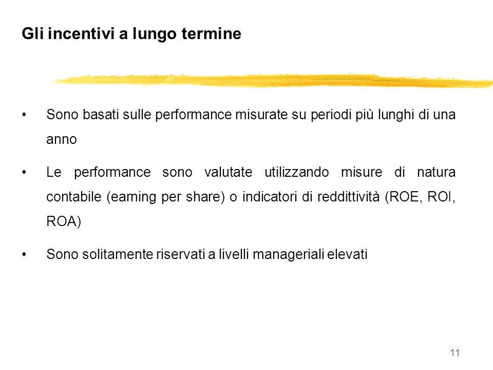 11 Gli incentivi a lungo termine Sono basati sulle performance misurate su periodi più lunghi di una anno Le performance sono valutate utilizzando mis
