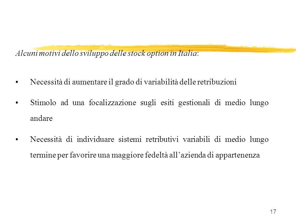 17 Alcuni motivi dello sviluppo delle stock option in Italia: Necessità di aumentare il grado di variabilità delle retribuzioni Stimolo ad una focaliz