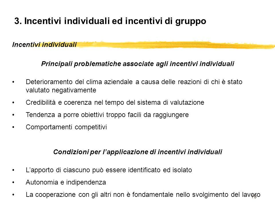 19 3. Incentivi individuali ed incentivi di gruppo Incentivi individuali Principali problematiche associate agli incentivi individuali Deterioramento