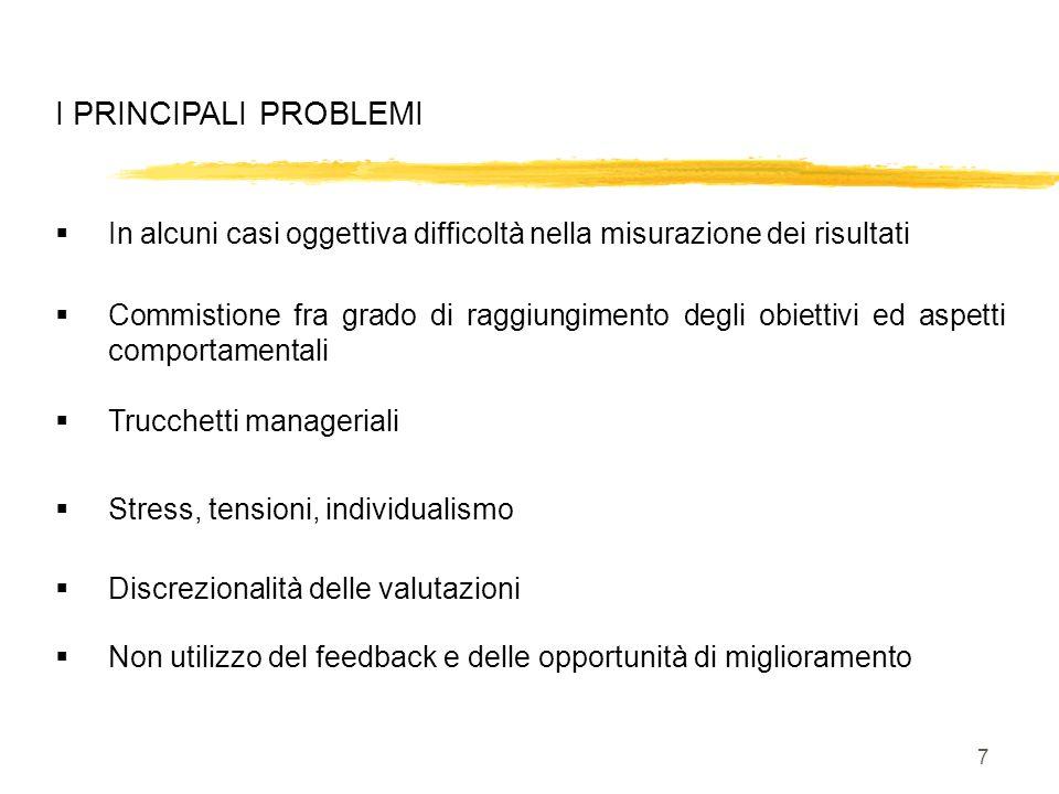7 I PRINCIPALI PROBLEMI In alcuni casi oggettiva difficoltà nella misurazione dei risultati Stress, tensioni, individualismo Trucchetti manageriali Co
