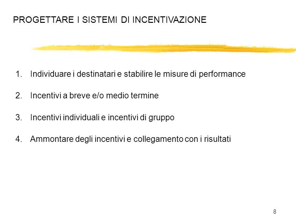 8 PROGETTARE I SISTEMI DI INCENTIVAZIONE 1.Individuare i destinatari e stabilire le misure di performance 2.Incentivi a breve e/o medio termine 3.Ince