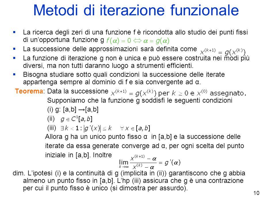 10 Metodi di iterazione funzionale La ricerca degli zeri di una funzione f è ricondotta allo studio dei punti fissi di unopportuna funzione g La succe