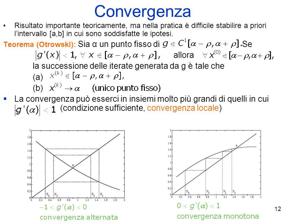 12 Convergenza Risultato importante teoricamente, ma nella pratica è difficile stabilire a priori lintervallo [a,b] in cui sono soddisfatte le ipotesi