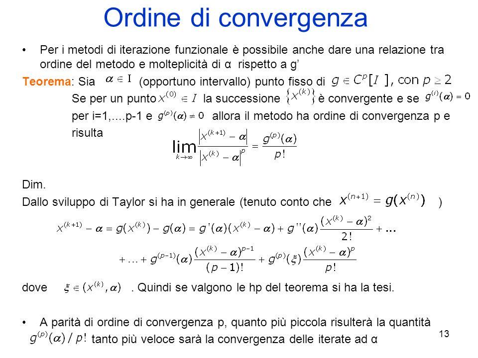 13 Ordine di convergenza Per i metodi di iterazione funzionale è possibile anche dare una relazione tra ordine del metodo e molteplicità di α rispetto