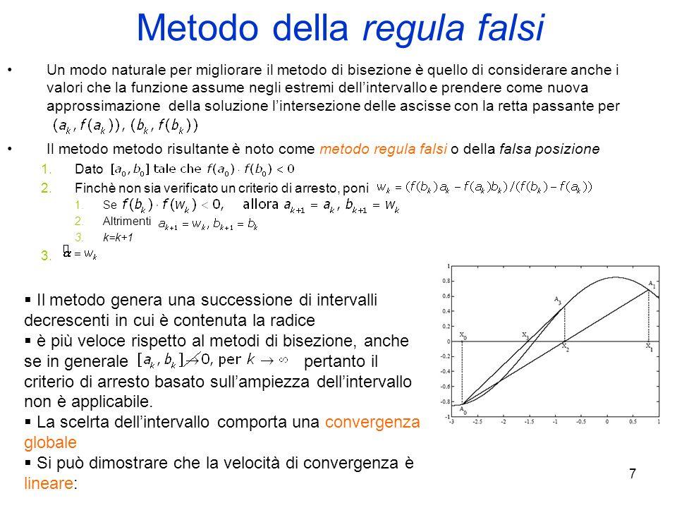 7 Metodo della regula falsi Un modo naturale per migliorare il metodo di bisezione è quello di considerare anche i valori che la funzione assume negli