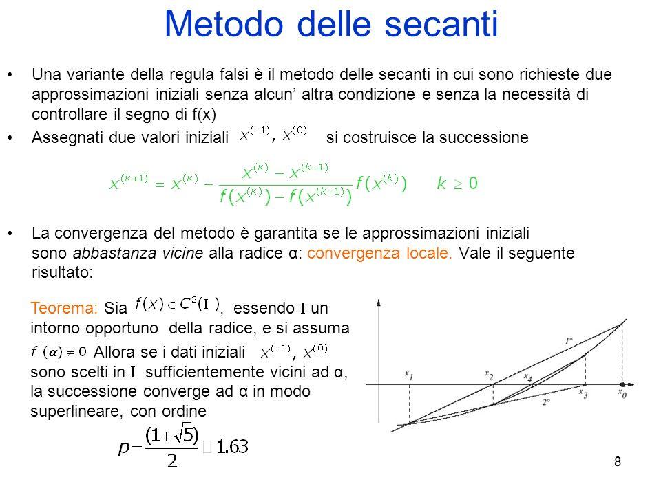 8 Metodo delle secanti Una variante della regula falsi è il metodo delle secanti in cui sono richieste due approssimazioni iniziali senza alcun altra