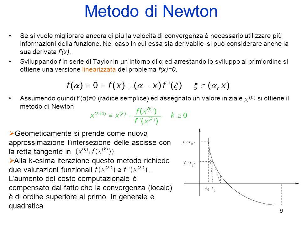 9 Metodo di Newton Se si vuole migliorare ancora di più la velocità di convergenza è necessario utilizzare più informazioni della funzione. Nel caso i