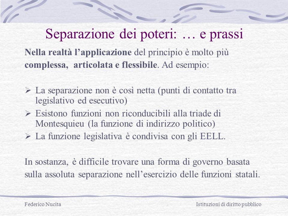 Federico Nucita Istituzioni di diritto pubblico Separazione dei poteri: … e prassi Nella realtà lapplicazione del principio è molto più complessa, articolata e flessibile.