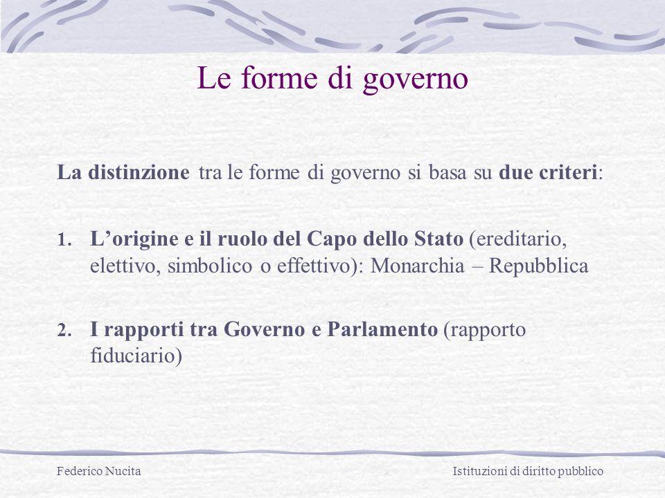 Federico Nucita Istituzioni di diritto pubblico Le forme di governo La distinzione tra le forme di governo si basa su due criteri: 1. Lorigine e il ru