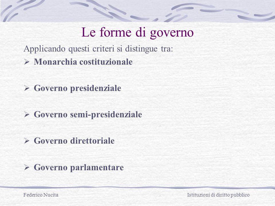 Federico Nucita Istituzioni di diritto pubblico Le forme di governo Applicando questi criteri si distingue tra: Monarchia costituzionale Governo presi