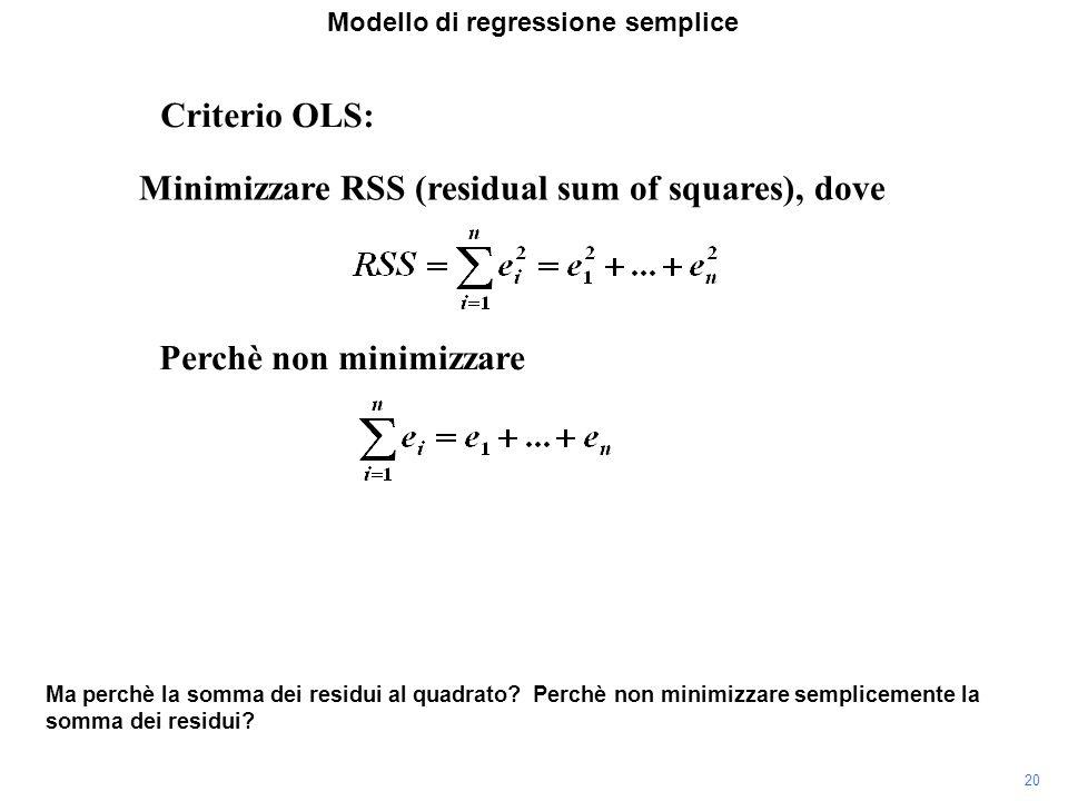 Modello di regressione semplice Ma perchè la somma dei residui al quadrato.