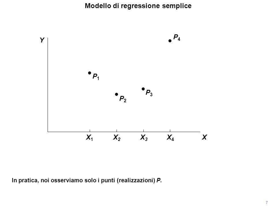 P4P4 In pratica, noi osserviamo solo i punti (realizzazioni) P. P3P3 P2P2 P1P1 Modello di regressione semplice 7 Y X X1X1 X2X2 X3X3 X4X4