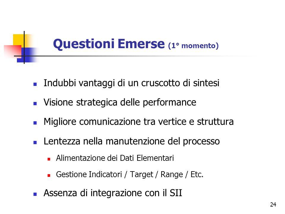 24 Questioni Emerse (1° momento) Indubbi vantaggi di un cruscotto di sintesi Visione strategica delle performance Migliore comunicazione tra vertice e