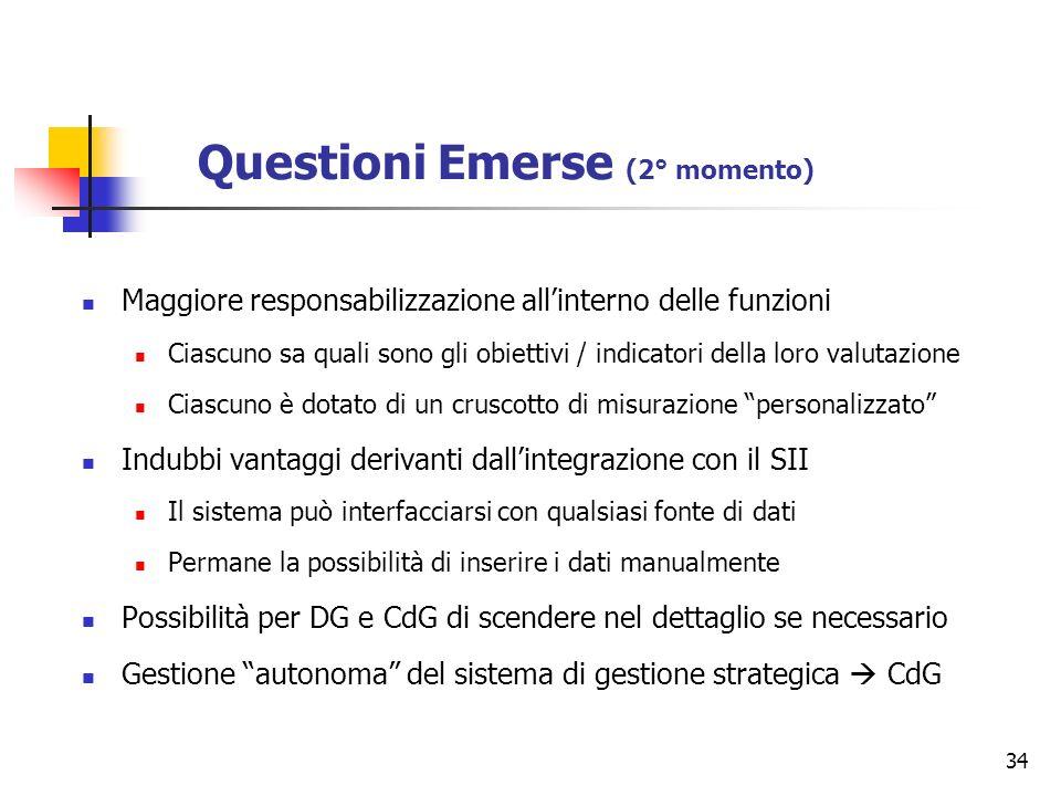 34 Questioni Emerse (2° momento) Maggiore responsabilizzazione allinterno delle funzioni Ciascuno sa quali sono gli obiettivi / indicatori della loro