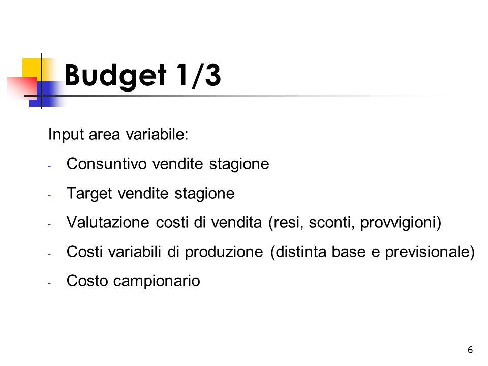 6 Budget 1/3 Input area variabile: - Consuntivo vendite stagione - Target vendite stagione - Valutazione costi di vendita (resi, sconti, provvigioni)