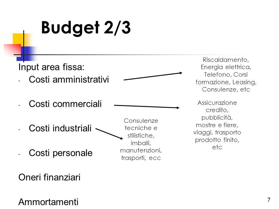 7 Budget 2/3 Input area fissa: - Costi amministrativi - Costi commerciali - Costi industriali - Costi personale Oneri finanziari Ammortamenti Riscalda