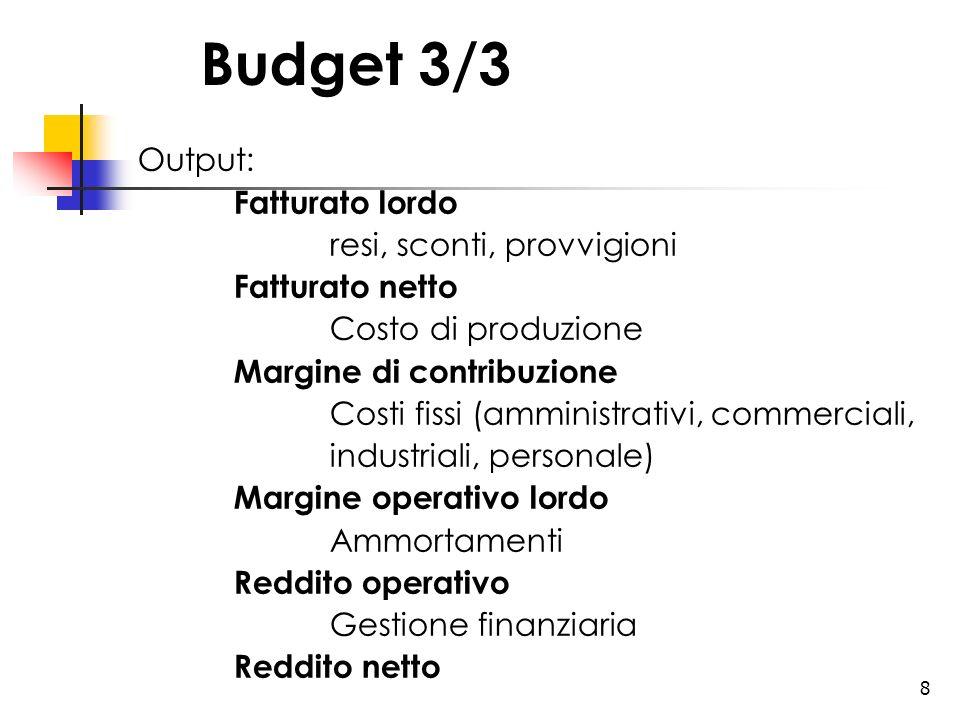 8 Budget 3/3 Output: Fatturato lordo resi, sconti, provvigioni Fatturato netto Costo di produzione Margine di contribuzione Costi fissi (amministrativ