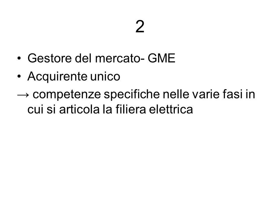 2 Gestore del mercato- GME Acquirente unico competenze specifiche nelle varie fasi in cui si articola la filiera elettrica