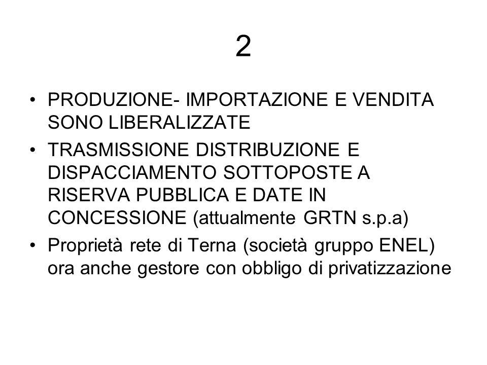 2 PRODUZIONE- IMPORTAZIONE E VENDITA SONO LIBERALIZZATE TRASMISSIONE DISTRIBUZIONE E DISPACCIAMENTO SOTTOPOSTE A RISERVA PUBBLICA E DATE IN CONCESSIONE (attualmente GRTN s.p.a) Proprietà rete di Terna (società gruppo ENEL) ora anche gestore con obbligo di privatizzazione