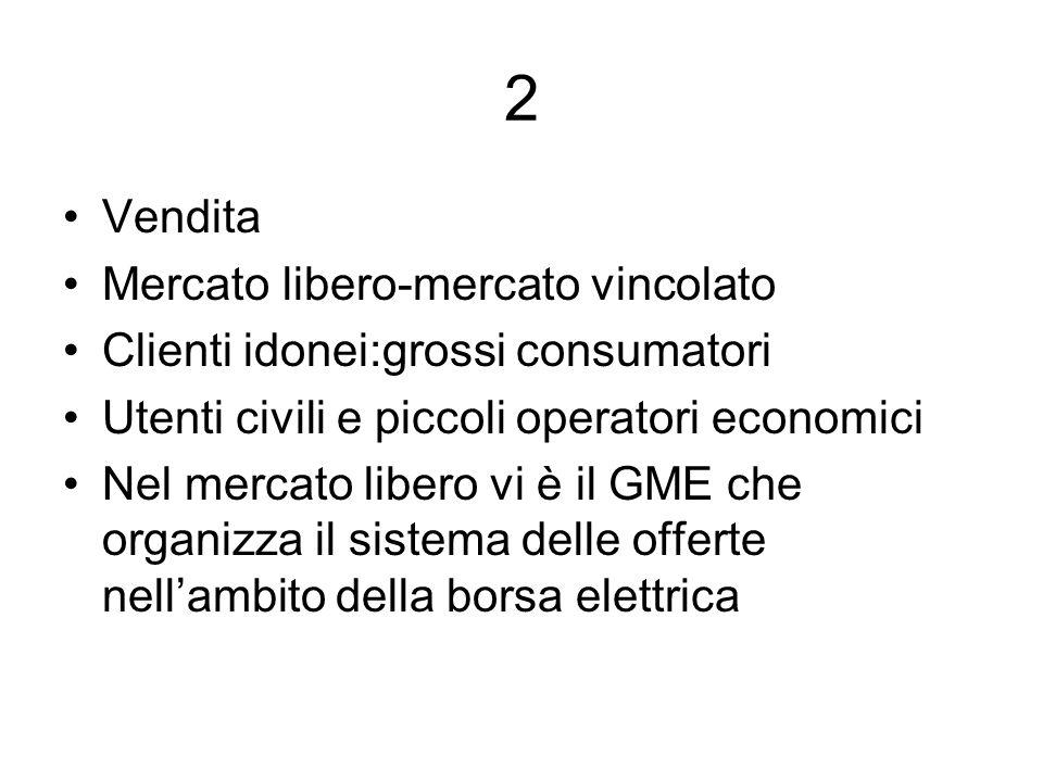 2 Vendita Mercato libero-mercato vincolato Clienti idonei:grossi consumatori Utenti civili e piccoli operatori economici Nel mercato libero vi è il GME che organizza il sistema delle offerte nellambito della borsa elettrica