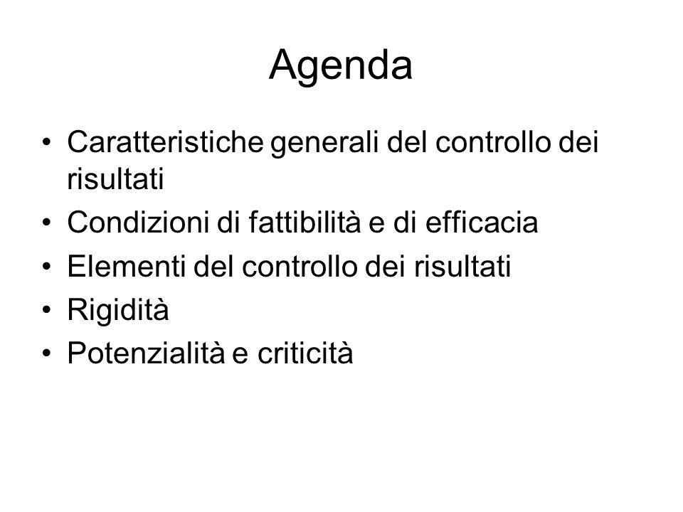 Agenda Caratteristiche generali del controllo dei risultati Condizioni di fattibilità e di efficacia Elementi del controllo dei risultati Rigidità Potenzialità e criticità