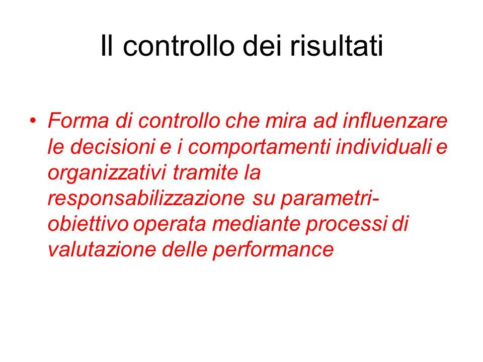 Il controllo dei risultati Forma di controllo che mira ad influenzare le decisioni e i comportamenti individuali e organizzativi tramite la responsabilizzazione su parametri- obiettivo operata mediante processi di valutazione delle performance