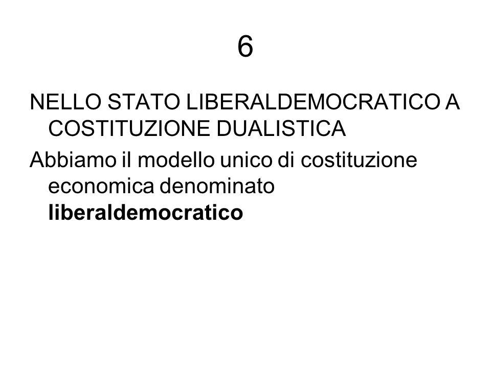6 NELLO STATO LIBERALDEMOCRATICO A COSTITUZIONE DUALISTICA Abbiamo il modello unico di costituzione economica denominato liberaldemocratico