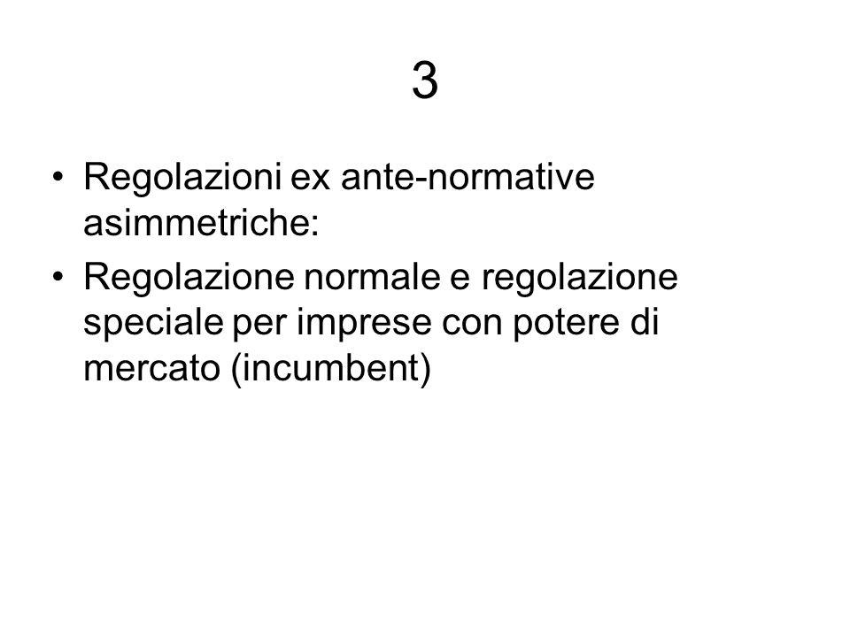 3 Regolazioni ex ante-normative asimmetriche: Regolazione normale e regolazione speciale per imprese con potere di mercato (incumbent)