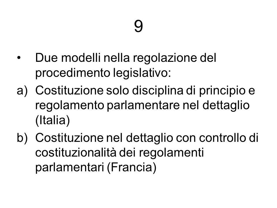 9 Due modelli nella regolazione del procedimento legislativo: a)Costituzione solo disciplina di principio e regolamento parlamentare nel dettaglio (It
