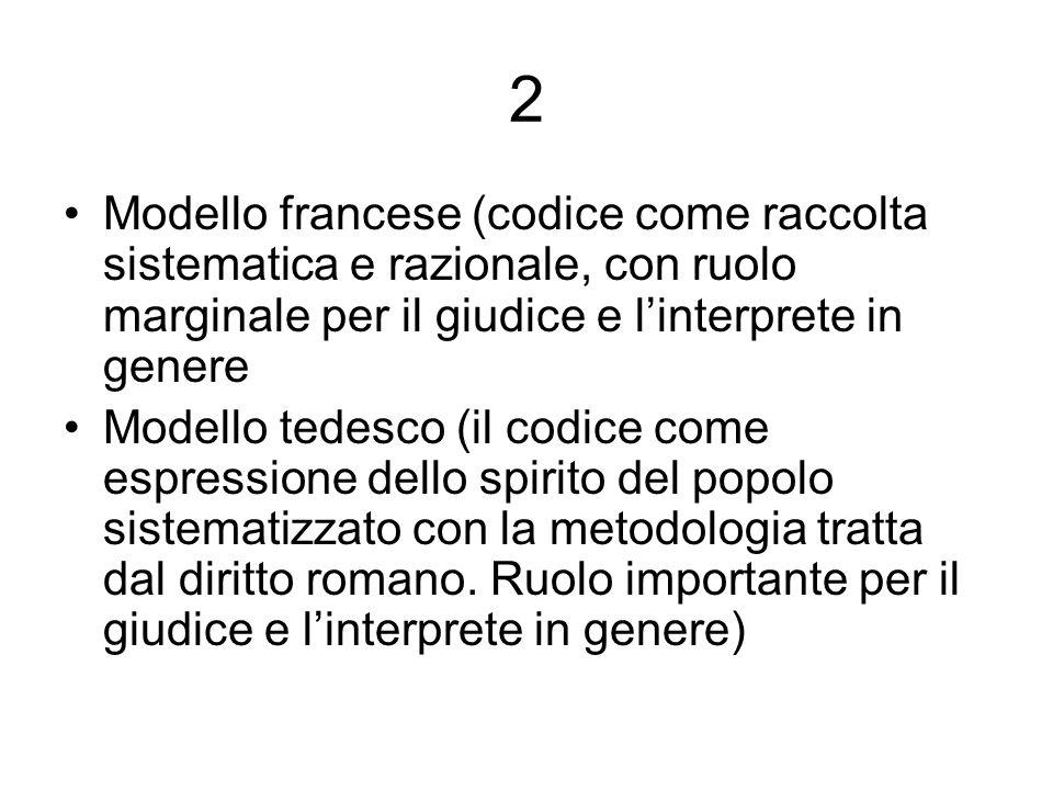 2 Modello francese (codice come raccolta sistematica e razionale, con ruolo marginale per il giudice e linterprete in genere Modello tedesco (il codic
