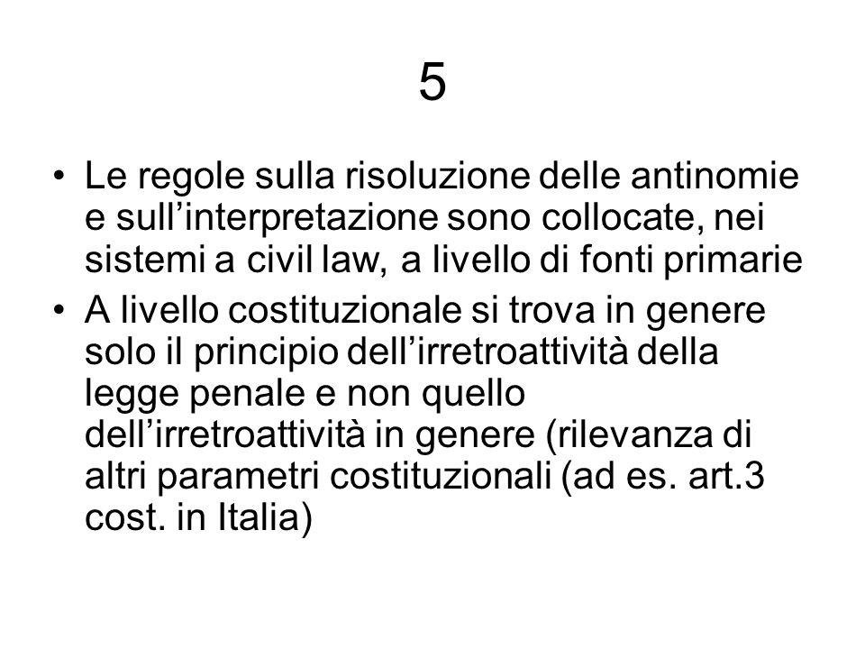 5 Le regole sulla risoluzione delle antinomie e sullinterpretazione sono collocate, nei sistemi a civil law, a livello di fonti primarie A livello cos