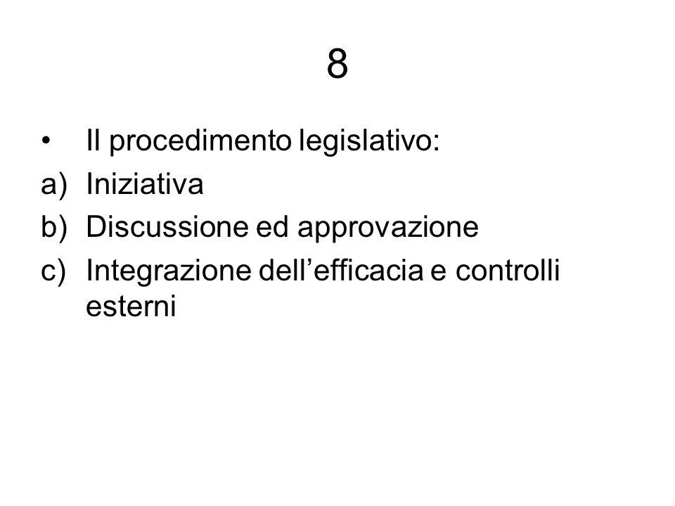 9 Due modelli nella regolazione del procedimento legislativo: a)Costituzione solo disciplina di principio e regolamento parlamentare nel dettaglio (Italia) b)Costituzione nel dettaglio con controllo di costituzionalità dei regolamenti parlamentari (Francia)
