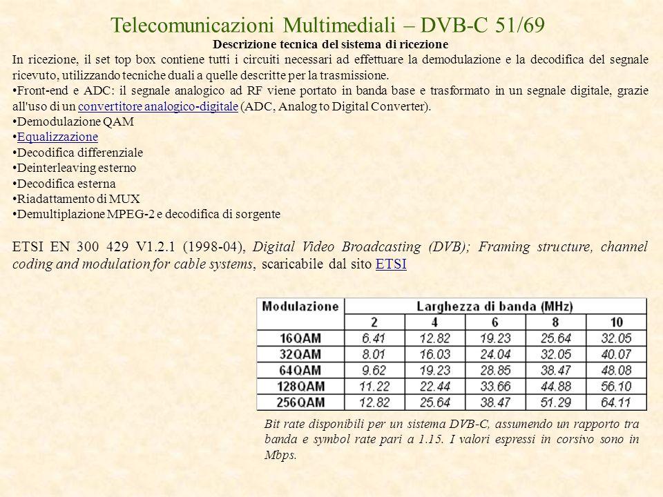 Telecomunicazioni Multimediali – DVB-C 51/69 Descrizione tecnica del sistema di ricezione In ricezione, il set top box contiene tutti i circuiti neces