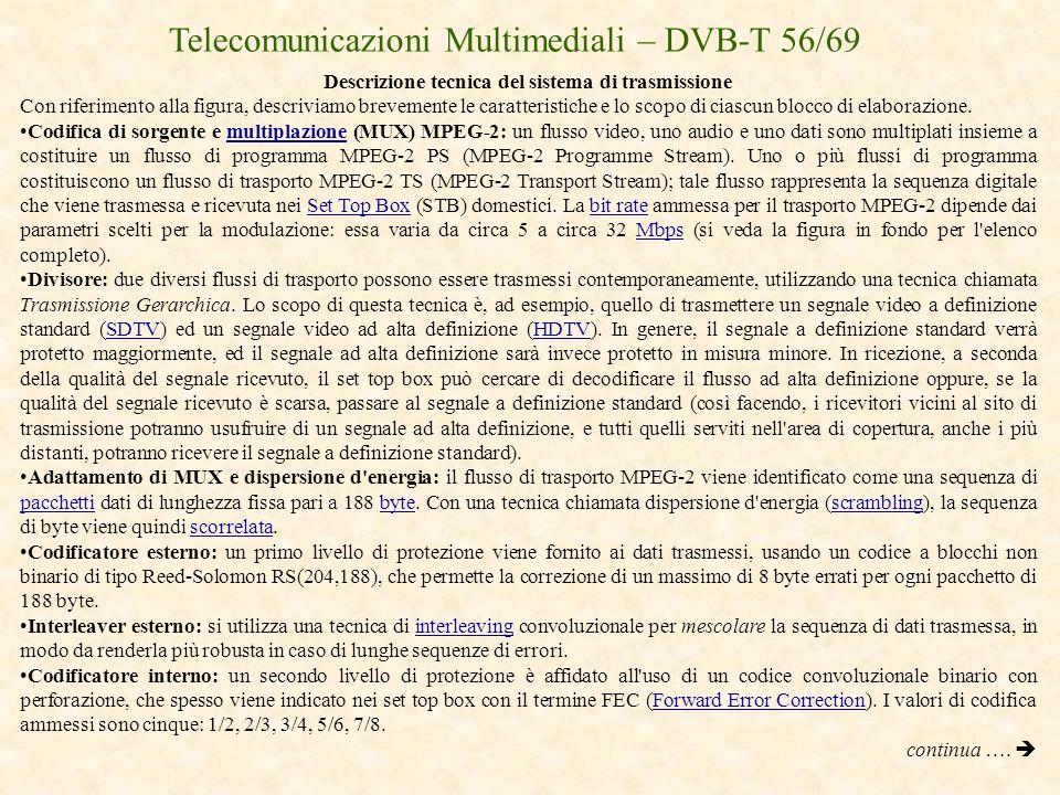 Telecomunicazioni Multimediali – DVB-T 56/69 Descrizione tecnica del sistema di trasmissione Con riferimento alla figura, descriviamo brevemente le ca