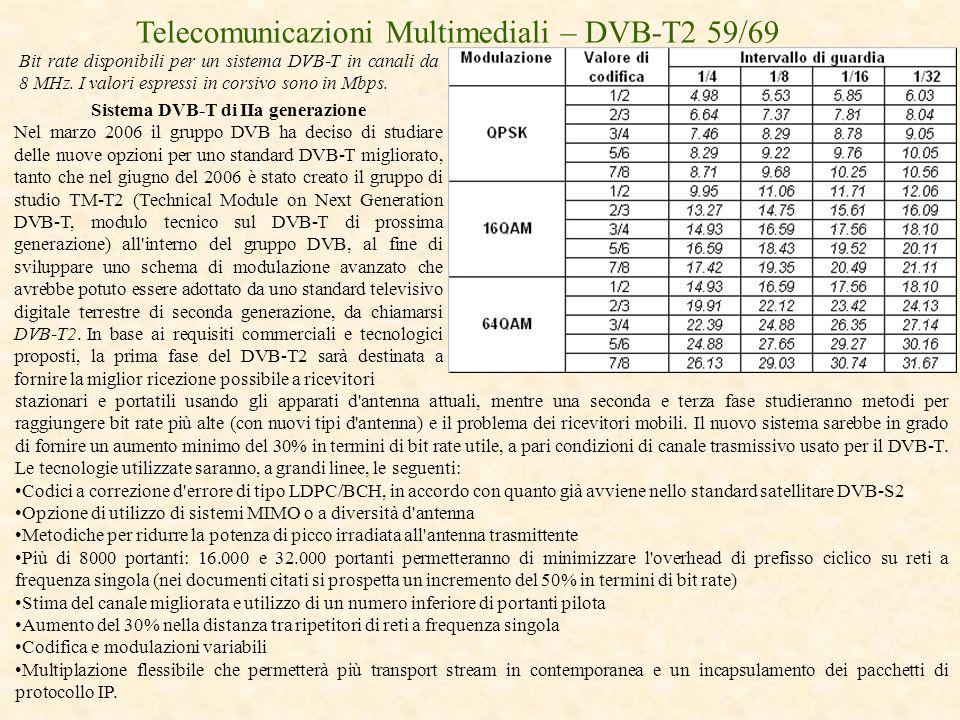Telecomunicazioni Multimediali – DVB-T2 59/69 Sistema DVB-T di IIa generazione Nel marzo 2006 il gruppo DVB ha deciso di studiare delle nuove opzioni