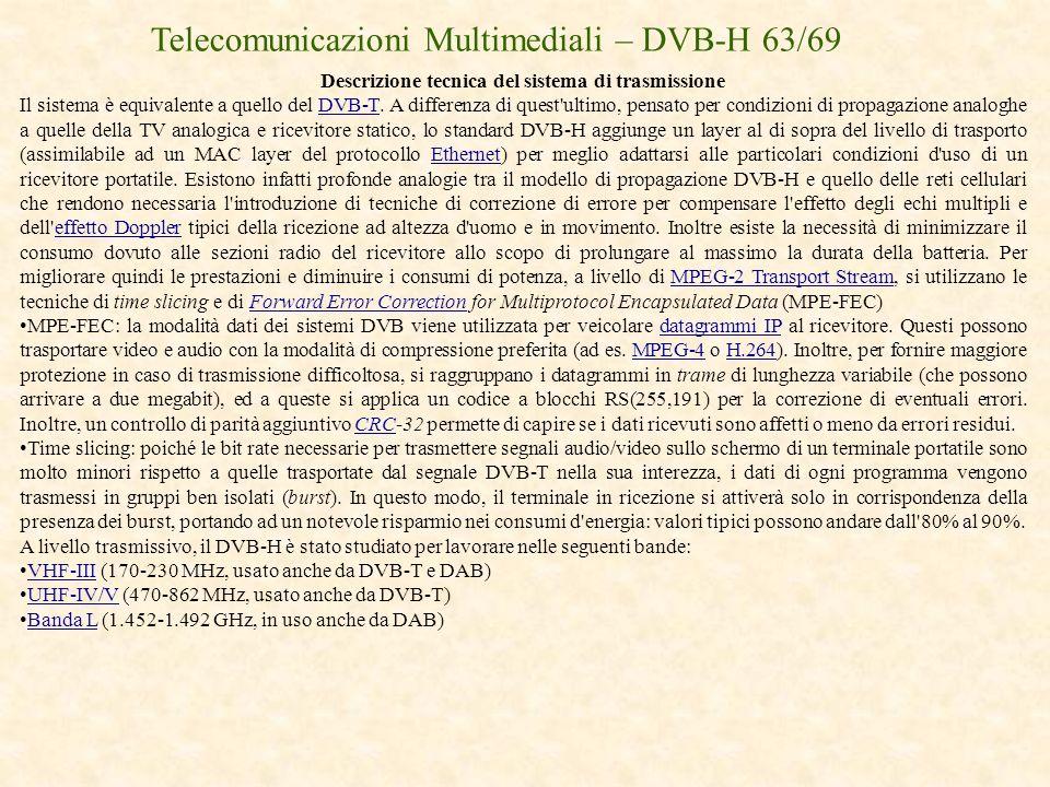 Telecomunicazioni Multimediali – DVB-H 63/69 Descrizione tecnica del sistema di trasmissione Il sistema è equivalente a quello del DVB-T. A differenza
